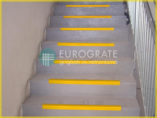 Cornières de sécurité appliquées aux escaliers industriels