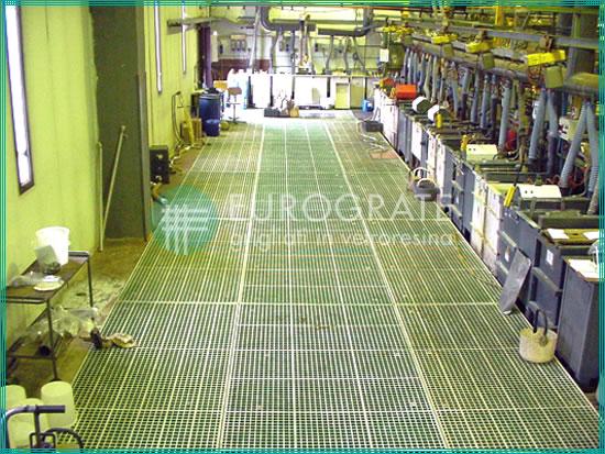 sol avec caillebotis en fibre de verre appliqués aux installations galvaniques