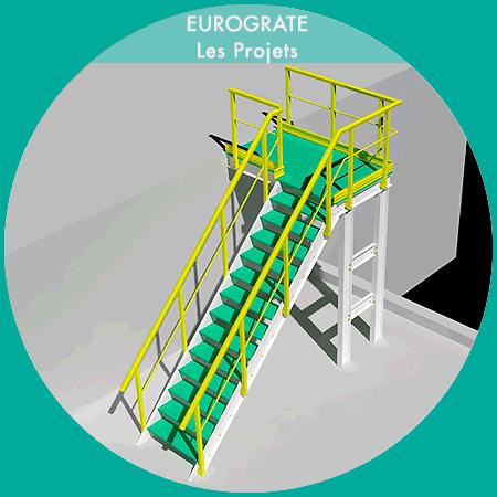 dessin technique en 3D des échelles verticales