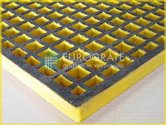 Maille des caillebotis Atex couleur sécurité jaune et noire