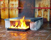 Caillebotis testés pour l'intégrité au feu