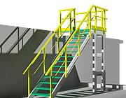 Structure avec profilés et marches en caillebotis en 3D